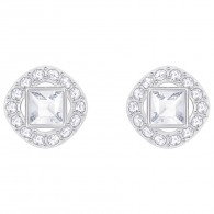 Swarovski 5368146 ANGELIC SQUARE PIERCED EARRINGS, WHITE.
