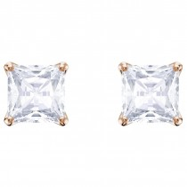 Swarovski Attract Stud Pierced Earrings, White, Rose gold plating, 5431895