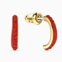Swarovski 5567358 THE ELEMENTS HOOP PIERCED EARRINGS, RED, GOLD-TONE PLATED