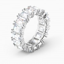 Swarovski No58 5572686 Vittore Wide Ring, White, Rhodium plated